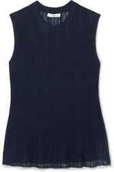 Vince Flounce Ribbed Stretch Knit Top Navy