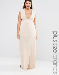 Missguided Plus Pleated Front Maxi Dress Nude Beige