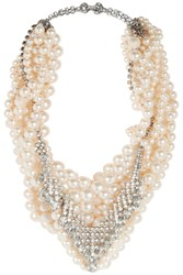 Tom Binns Grand Dame Rhodium Plated Swarovski Pearl And Crystal Necklace Pink