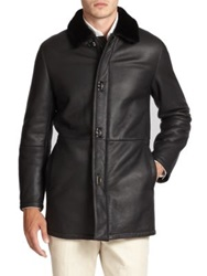 Salvatore Ferragamo Leather And Lamb Shearling Coat Black Brown