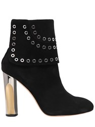 Alexander Mcqueen 105Mm Eyelets Suede Ankle Boots