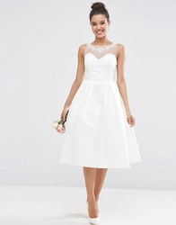 Asos Bridal Crystal Sweetheart Midi Prom Dress White