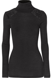 Hanro Rubina Lace Trimmed Ribbed Wool And Silk Blend Turtleneck Top Charcoal