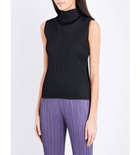 Issey Miyake Pleats Please High Neck Pleated Sleeveless Top Black