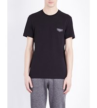 Givenchy Leather Badge Cotton Jersey T Shirt Black