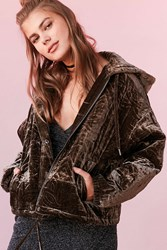 Silence And Noise Geo Quilted Velvet Hoodie Sweatshirt Olive