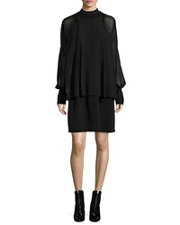 3.1 Phillip Lim Silk Dolman Sleeve Layered Dress Black Women's