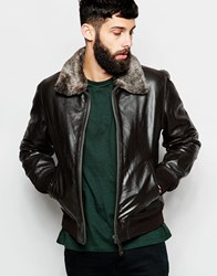 Schott Leather Bomber Jacket With Faux Fur Collar Brown