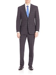 Polo Ralph Lauren Purple Label Slim Fit Linear Plaid Suit Grey Multi