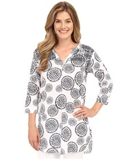 Hatley Mandala Women's Beach Tunic White Navy Mandala Women's Clothing Gray