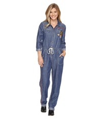 Double D Ranchwear Chief Five Thunder Boilersuit Denim Women's Jumpsuit And Rompers One Piece Blue