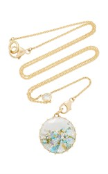 Renee Lewis Opal Aqua Turquoise White And Colored Diamond Shake Necklace Blue