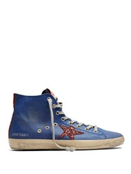 Golden Goose Francy High Top Coated Canvas Trainers Blue Multi