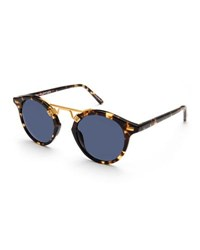 Krewe St. Louis Round Polarized Sunglasses Blue Brown Tortoise Blue Pattern