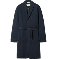 Oliver Spencer Loungewear Quilted Cotton Blend Jersey Robe Navy