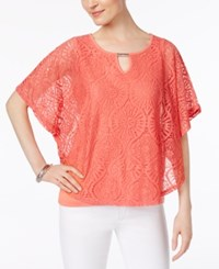 Jm Collection Lace Keyhole Poncho Only At Macy's Porcelain Rose