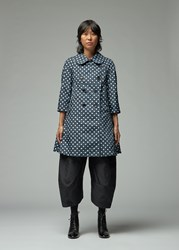 Comme Des Garcons Mixed Polka Dot Trench Navy