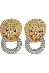 Kenneth Jay Lane Woman Gold Tone Crystal Clip Earrings Gold