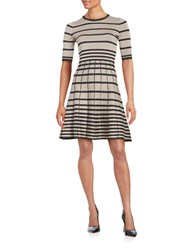 Gabby Skye Jewelneck A Line Dress Taupe Graphite