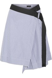 Rag And Bone Lenna Striped Cotton Silk Blend Wrap Skirt Light Blue