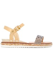 Casadei Braided Sole Sandals Women Calf Leather Nappa Leather Python Skin Rubber 35 Nude Neutrals