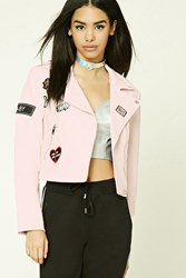 Forever 21 Patch Graphic Moto Jacket Baby Pink