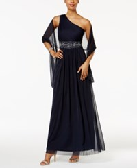 Jessica Howard Embellished One Shoulder Gown And Scarf Navy