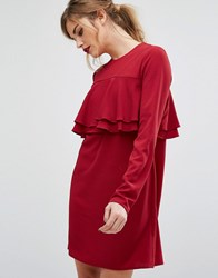 Fashion Union Frill Front Dress Berry Red