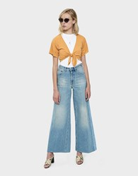 Which We Want Mili Knotted Ribbed Crop Top Goldenrod