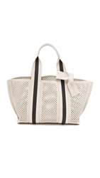 Pedro Garcia Perforated Tape Tote Stone With Black Stripe