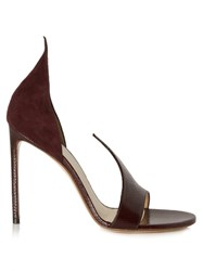 Francesco Russo Open Toe Snakeskin And Suede Pumps Burgundy