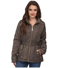 Vince Camuto Petite Quilted Coat Pale Olive Women's Coat
