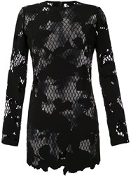 Anthony Vaccarello Semi Sheer Floral Dress Black