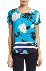 Women's Pleione Pleat Back Woven Print Top White Blue Combo Border Print