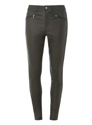 Dorothy Perkins Tall Khaki Zip Coated 'Frankie' Jeans