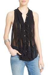 Women's Free People 'Higher Ground' Sleeveless Chiffon Blouse Black