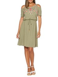 Rafaella Petite Embroidered Cold Shoulder Dress Green
