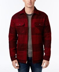 Club Room Men's Plaid Fleece Lined Shirt Jacket Only At Macy's Red River