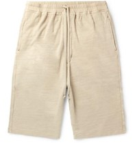 Rick Owens Slub Loopback Cotton Jersey Drawstring Shorts Cream