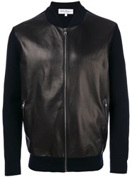 Salvatore Ferragamo Leather And Wool Bomber Jacker Black