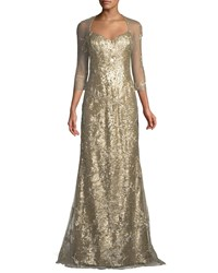 Rene Ruiz Mesh Three Quarter Sleeve Spider Pattern Sequin Gown Beige
