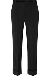 Marc Jacobs Bowie Cropped Stretch Wool Straight Leg Pants Black