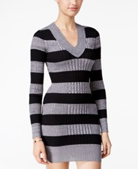 Planet Gold Juniors' Striped Sweater Dress Grey Black