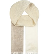 Corneliani Logo Scarf Cream