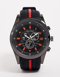 Bellfield Chronograph Watch With Red Highlight Black
