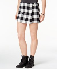 Be Bop Juniors' Faux Wrap Plaid Skort White Black