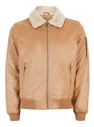 Topman Brown Stone Faux Suede Flight Jacket
