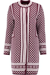 Tory Burch Jacquard Knit Cardigan Burgundy