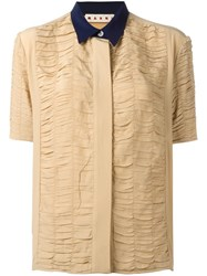 Marni Ruched Short Sleeve Shirt Brown