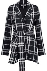 Derek Lam 10 Crosby By Belted Checked Boucle And Basketweave Jacket Midnight Blue